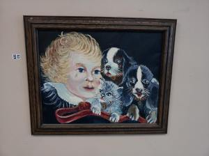 crying child with dogs